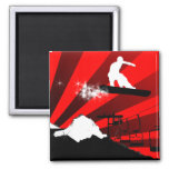 snowboard. red rays. square magnet