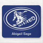 "Snowboard ""SHRED"" Oval Silhouette Snowboarder Tag Mouse Pad"