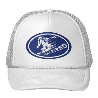 "Snowboard ""SHRED"" Oval Snowboarder Tag Hat"