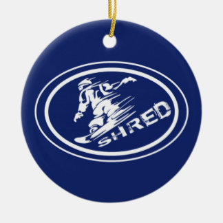 "Snowboard ""SHRED"" Oval Snowboarder Tag Ornament"
