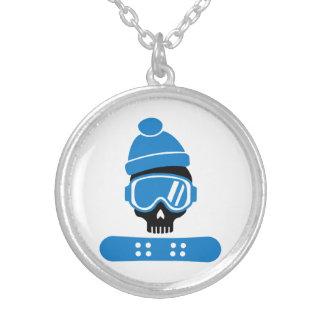 Snowboard skull necklace