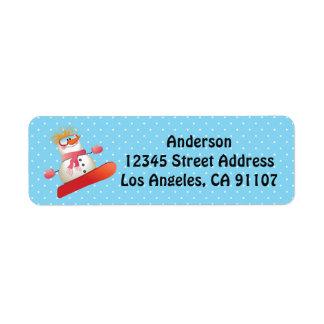 Snowboard Snowman Return Address Labels