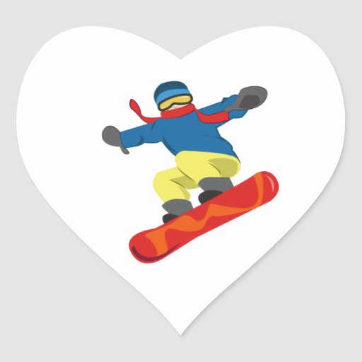 Snowboard Heart Stickers