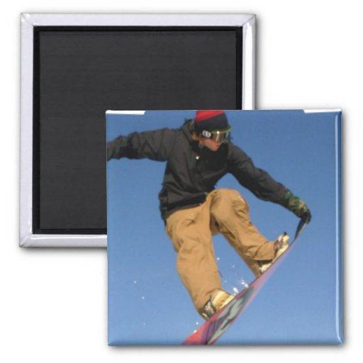 Snowboard Tail Grab Square Magnet Fridge Magnet