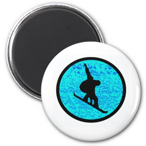 Snowboard the Peaked 6 Cm Round Magnet