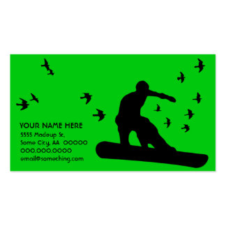 snowboard with birds business card template