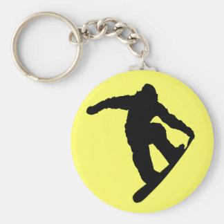 Snowboarder Basic Round Button Key Ring