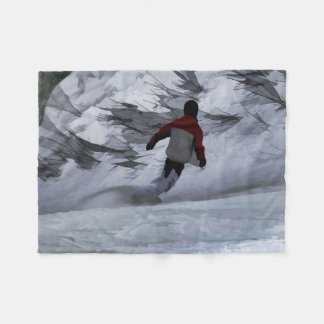 """Snowboarder """"Carving the Mountain"""" Winter Sports Fleece Blanket"""