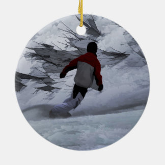 """Snowboarder """"Carving the Mountain"""" Winter Sports Round Ceramic Decoration"""