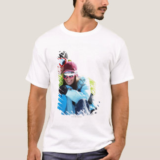 Snowboarder couple sitting on snow T-Shirt