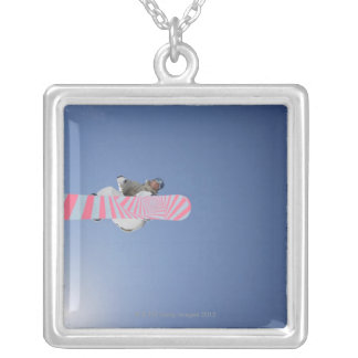 Snowboarder Flying Through the Air Silver Plated Necklace