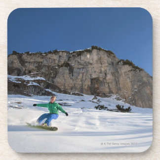 Snowboarder free riding beverage coasters