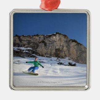 Snowboarder free riding Silver-Colored square decoration