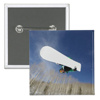 Snowboarder Getting Vert 15 Cm Square Badge