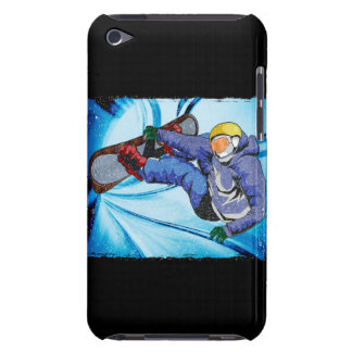 Snowboarder in Edgy Snowstorm iPod Case-Mate Cases