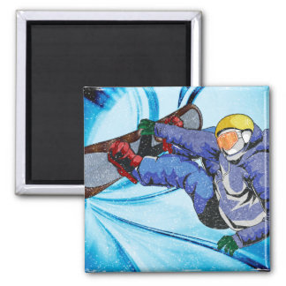 Snowboarder in Edgy Snowstorm Refrigerator Magnets