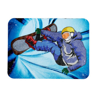Snowboarder in Edgy Snowstorm Flexible Magnets