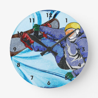 Snowboarder in Edgy Snowstorm Round Clock