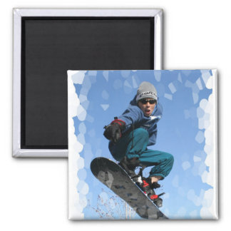 Snowboarder in the Snow Square Magnet