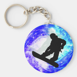 Snowboarder in Whiteout Basic Round Button Key Ring