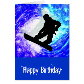 Snowboarder in Whiteout Greeting Cards