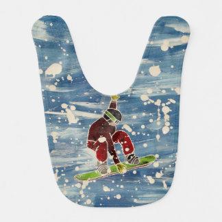 Snowboarder Jumping Baby Bib