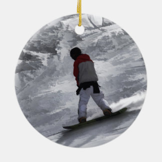 "Snowboarder ""just cruisin'"" Winter Sports Gift Round Ceramic Decoration"