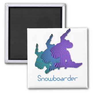 Snowboarder Logo Square Magnet Magnets