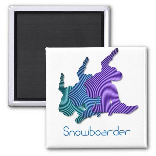Snowboarder Logo Square Magnet Magnets
