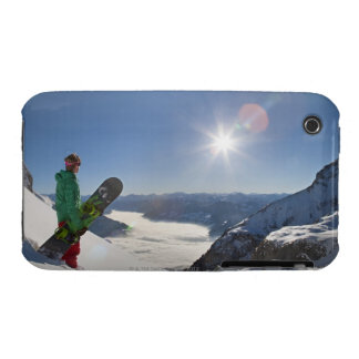 Snowboarder looking from mountain top Case-Mate iPhone 3 cases