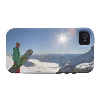 Snowboarder looking from mountain top Case-Mate iPhone 4 covers