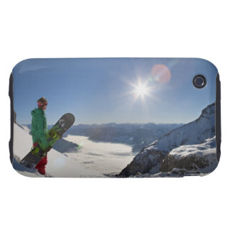 Snowboarder looking from mountain top iPhone 3 tough covers