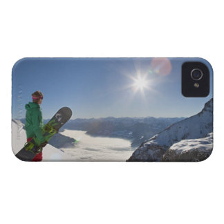 Snowboarder looking from mountain top iPhone 4 Case-Mate case