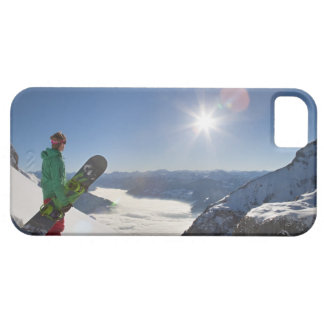 Snowboarder looking from mountain top iPhone 5 cases