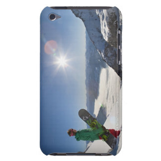 Snowboarder looking from mountain top iPod touch cases