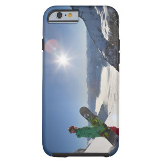 Snowboarder looking from mountain top tough iPhone 6 case