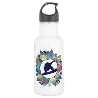 Snowboarder Mountain Flower 532 Ml Water Bottle