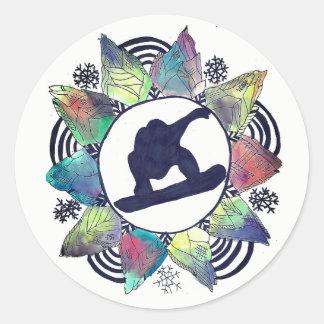 Snowboarder Mountain Flower Round Sticker