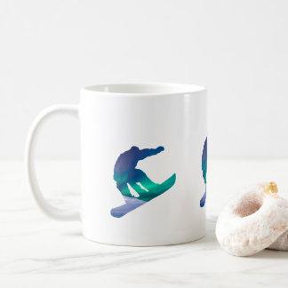 Snowboarder Northern Lights Silhouette Coffee Mug