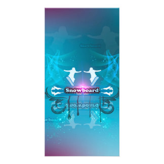 Snowboarder on blue background custom photo card