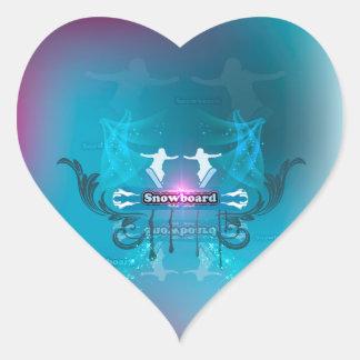 Snowboarder on blue background heart sticker