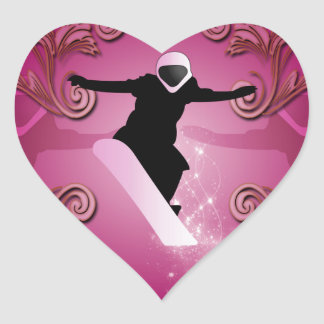 Snowboarder on purple background heart stickers