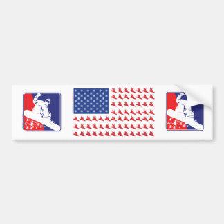 Snowboarder-Patriotic-Flag Bumper Stickers
