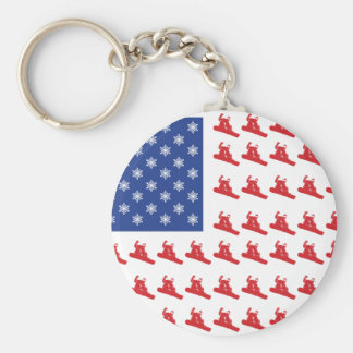 Snowboarder-Patriotic-USA-Flag Basic Round Button Key Ring