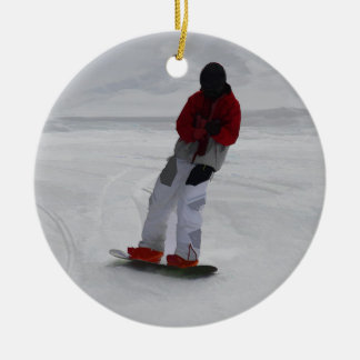 "Snowboarder ""preparing to ski'"" Winter Sports Gift Round Ceramic Decoration"