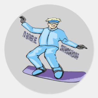 Snowboarder Round Stickers