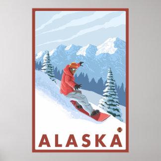 Snowboarder Scene - Alaska Poster