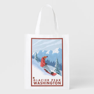 Snowboarder Scene - Glacier Peak, Washington Reusable Grocery Bag