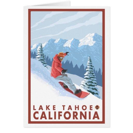 Snowboarder Scene - Lake Tahoe, California Greeting Cards