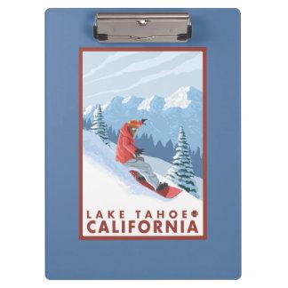 Snowboarder Scene - Lake Tahoe, California Clipboard